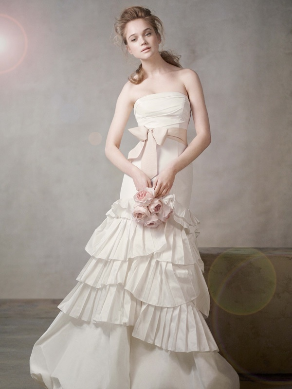 Ivory strapless mermaid wedding dress with blush pink sash for Ivory wedding dress sash