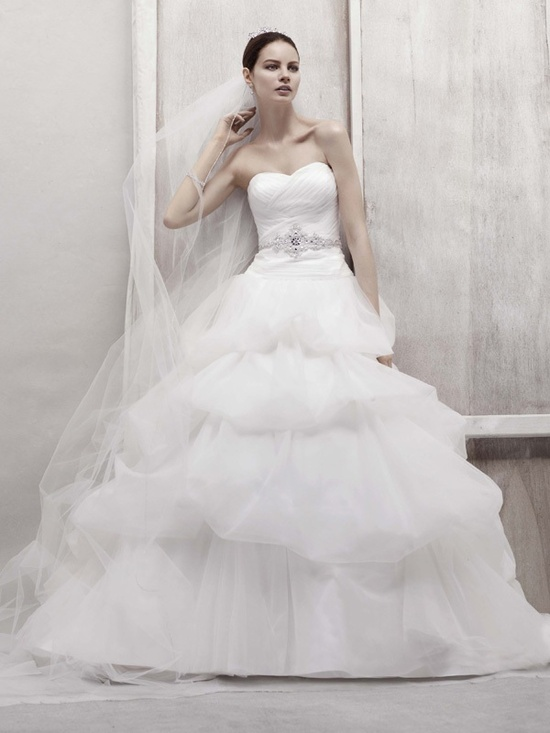 Romantic white ballgown wedding dress with embellished sash
