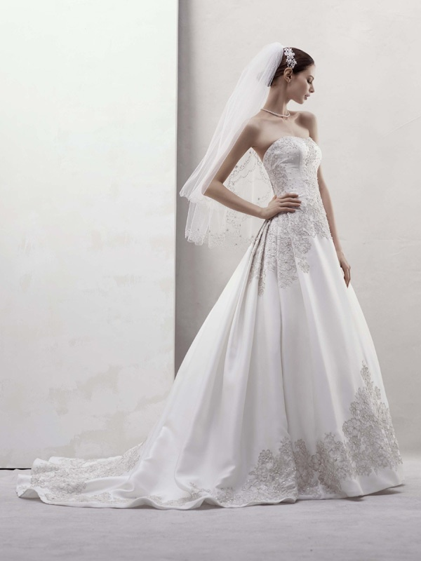 Romantic ivory a-line wedding dress with silver beading