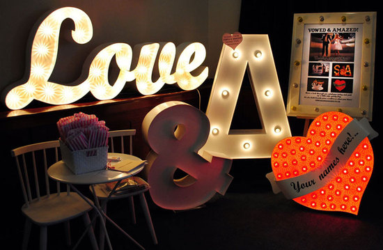 illuminated Love wedding backdrop
