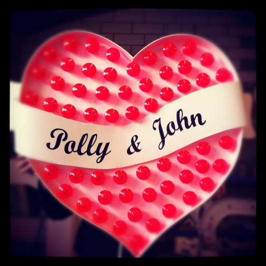custom lightup heart wedding sign