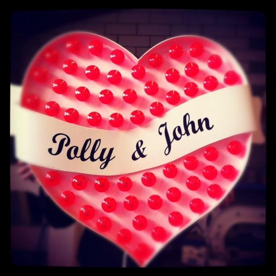 photo of custom lightup heart wedding sign
