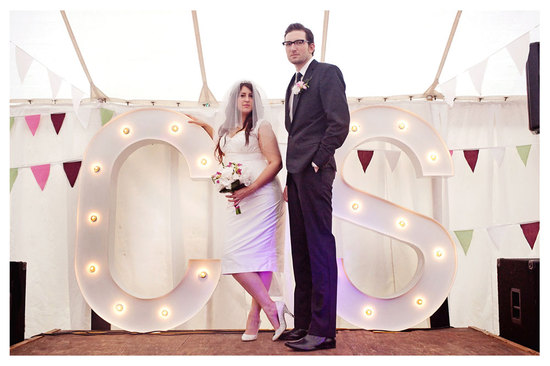Custom wedding marquee lights with couples initials