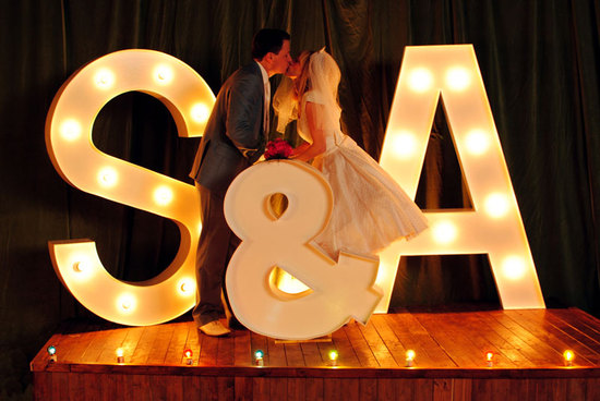 giant marquee letters for wedding reception backdrop