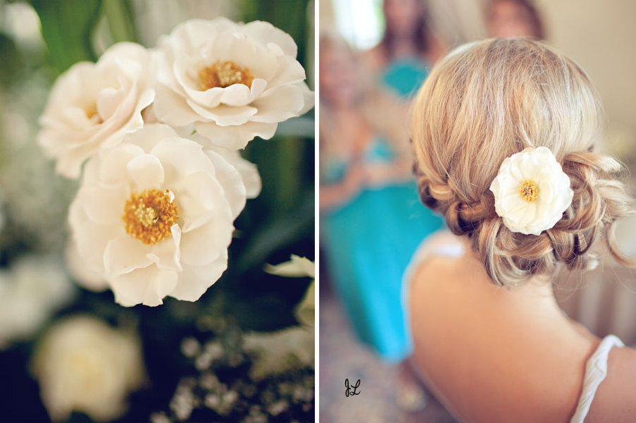 Romantic soft bridal updo with chic braid