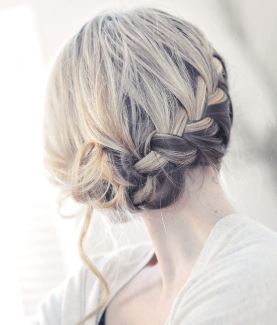 Soft bridal updo- low braided wedding hairstyle