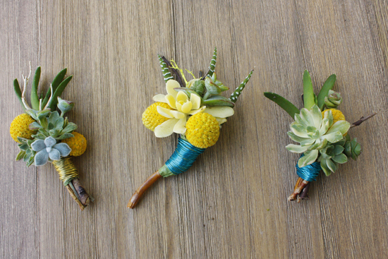 bright wedding succulent boutonniere trio