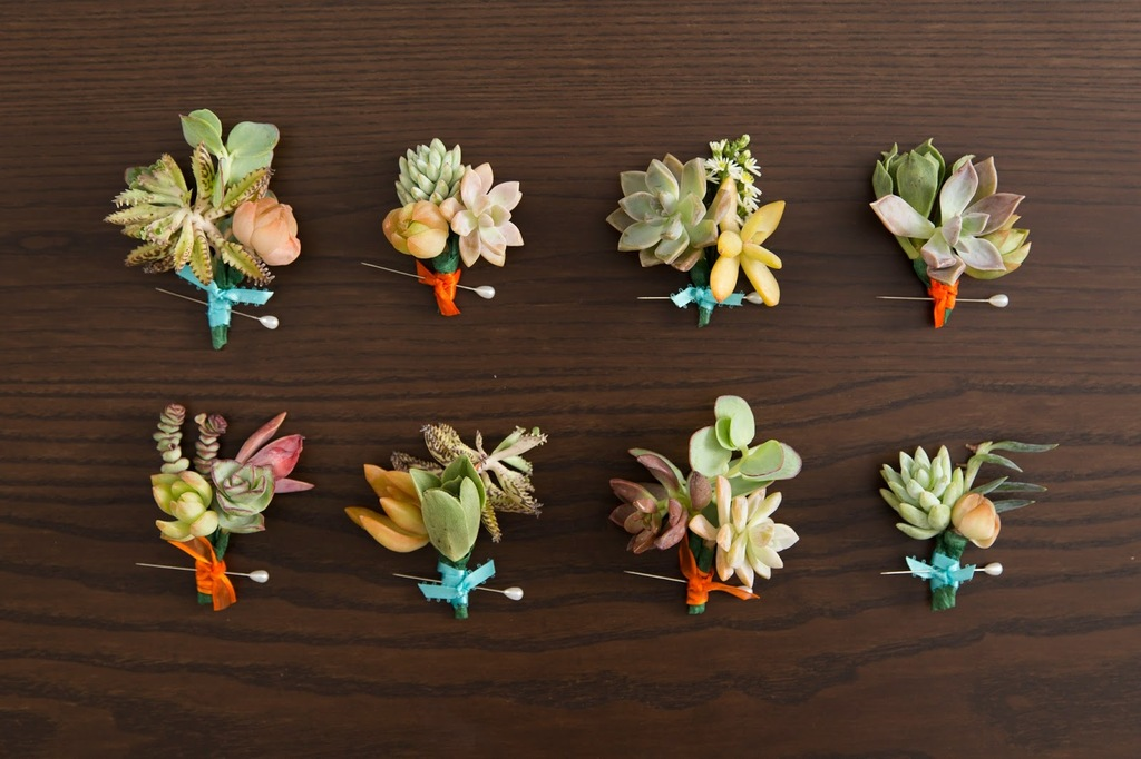 assorted succulent boutonnieres for the wedding day