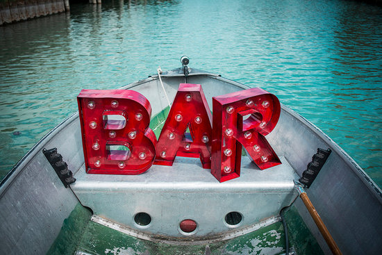 red marquee Bar wedding sign