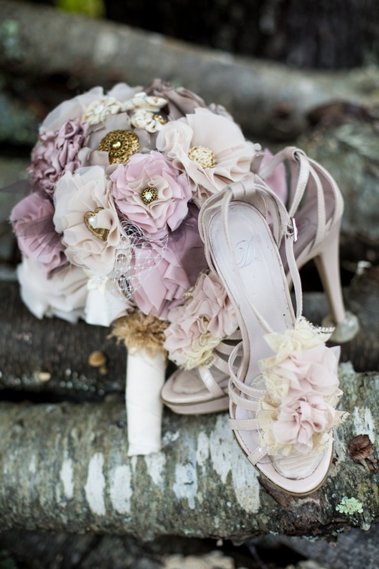 blush and gold handmade bouquet and shoes