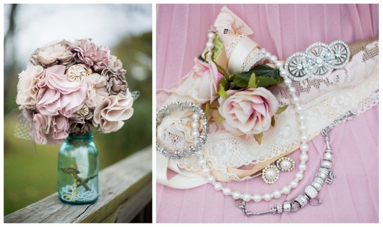 Handmade fabric blush bouquet with bridal jewelry and garter