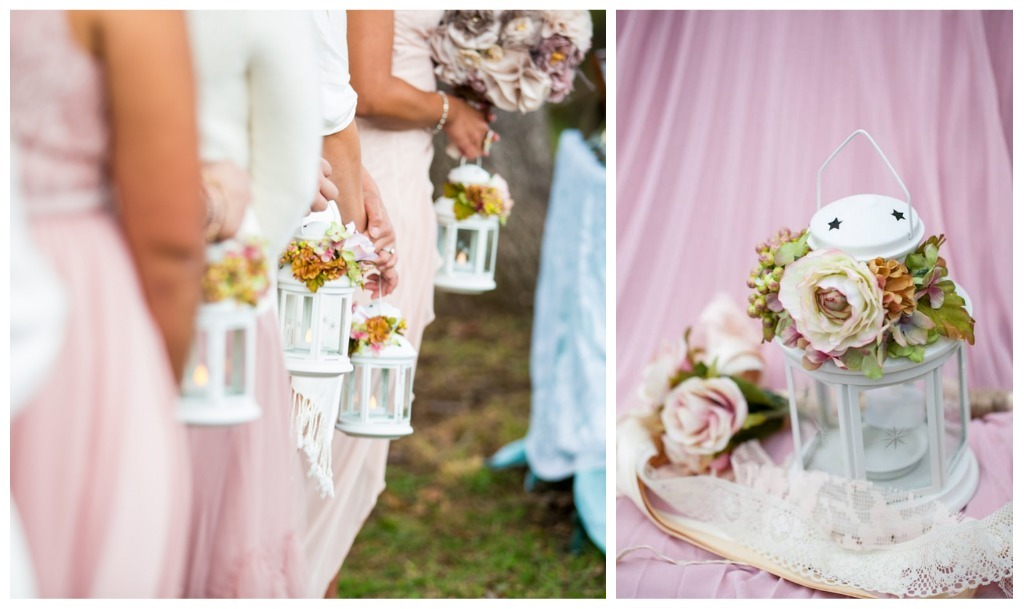 Lanterns as bridesmaids bouquets