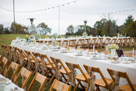 Outdoor real wedding reception