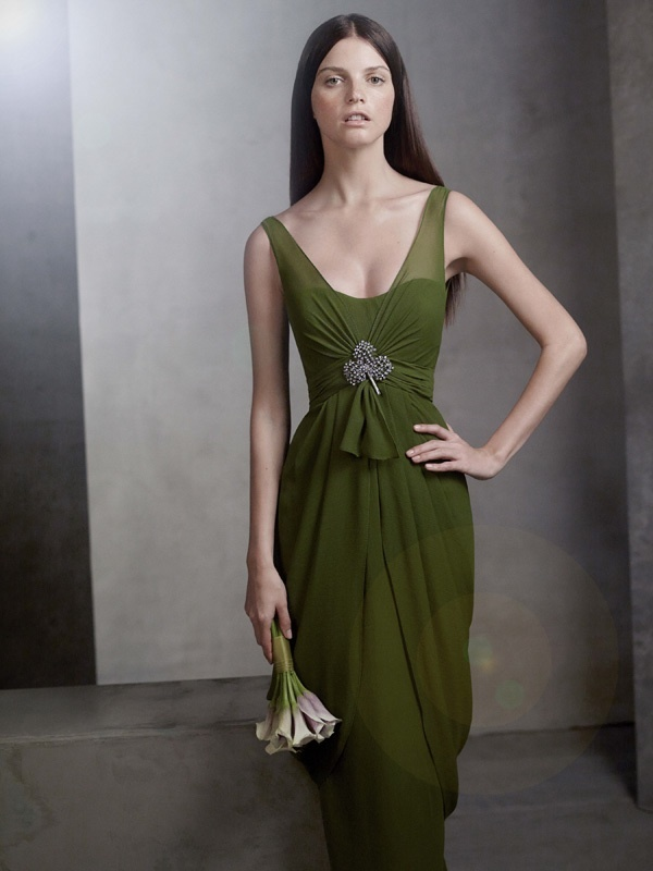 photo of Olive green bridesmaid dress