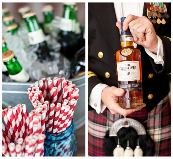 Striped straws and scotch at wedding reception
