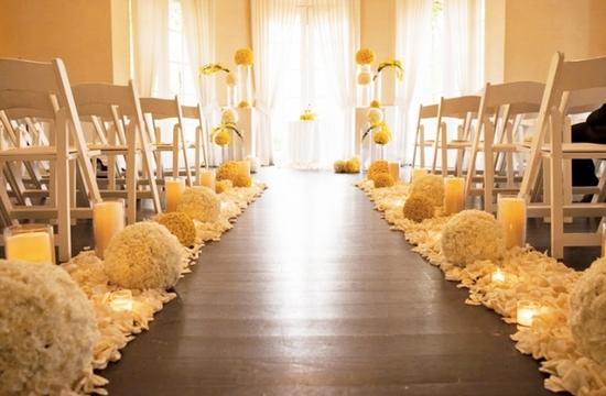2013-wedding-trends-elegant-wedding-ceremony-aisle-wood-with-white-yellow-wedding-flowers
