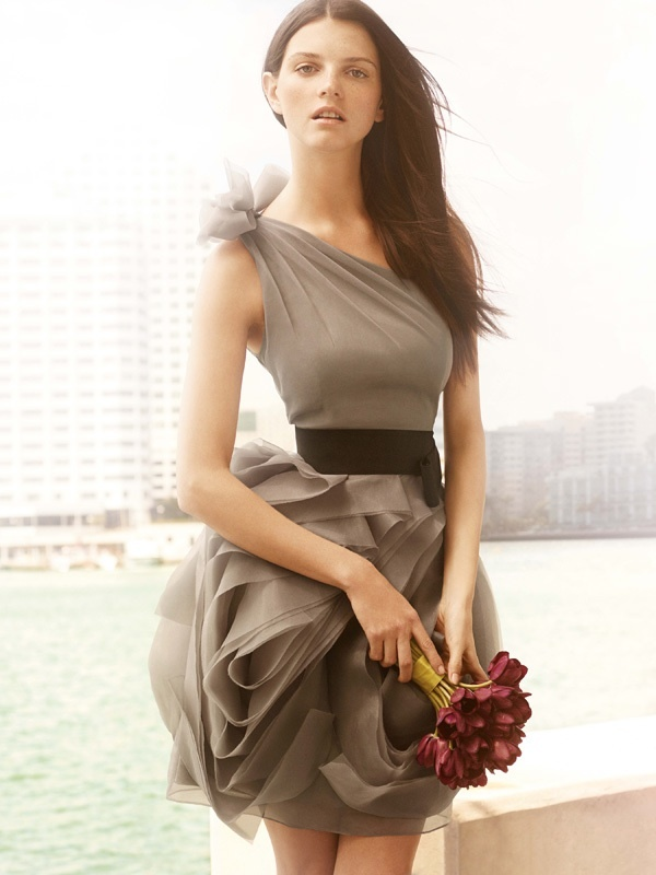 photo of one-shoulder Vera Wang bridesmaid dress
