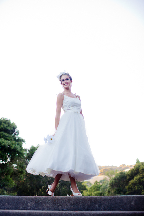 Vintage-inspired tea length wedding dress