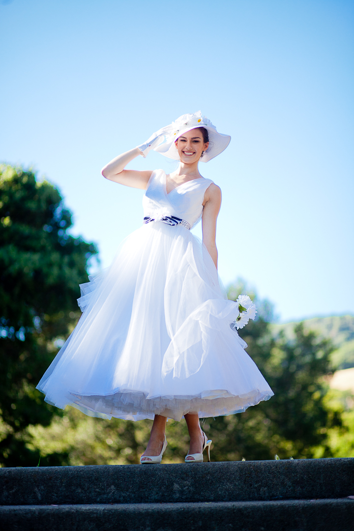 Tea length tulle wedding dress chic belt and summer for Tea length tulle skirt wedding dress