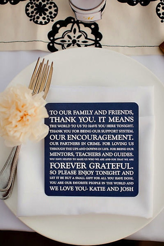 photo of Thank You Note for Guests at Wedding Reception