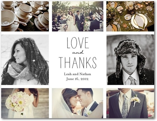 Thank you note with wedding pictures