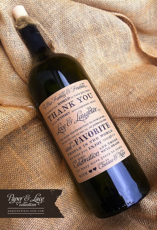 Thank you personalized wine bottle for vendors