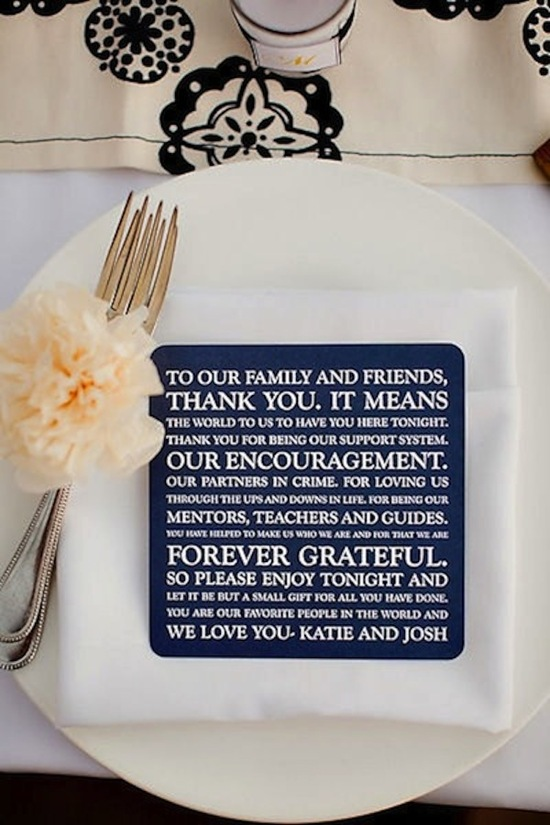 Thank You Note for Guests at Reception