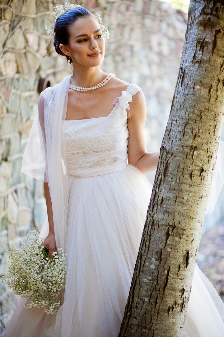 Vintage-inspired tea length summer wedding dress
