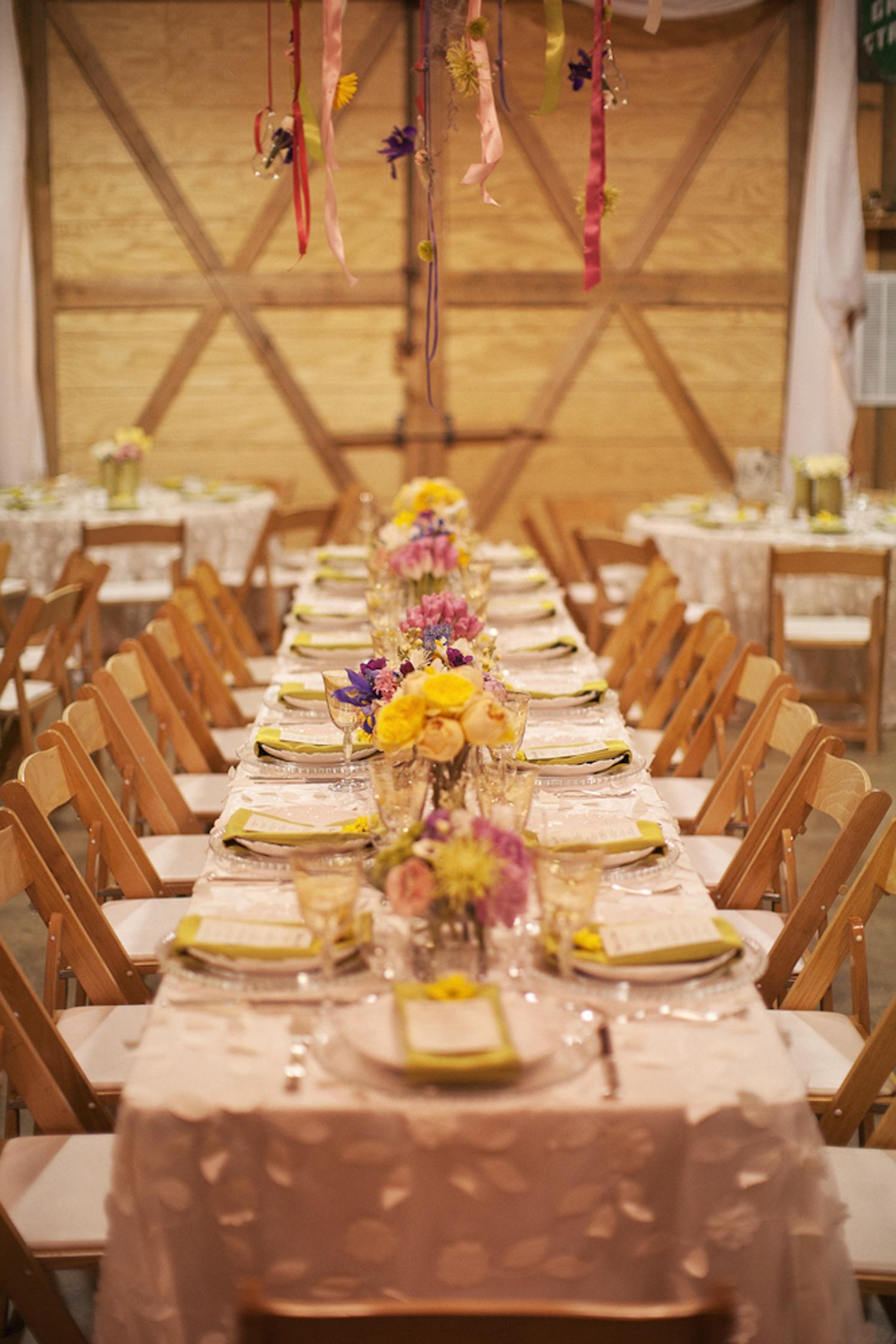 Country chic wedding reception venue tablescape for Wedding reception ideas for spring