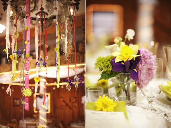 Rustic chic DIY wedding reception chandelier and wedding flower centerpieces