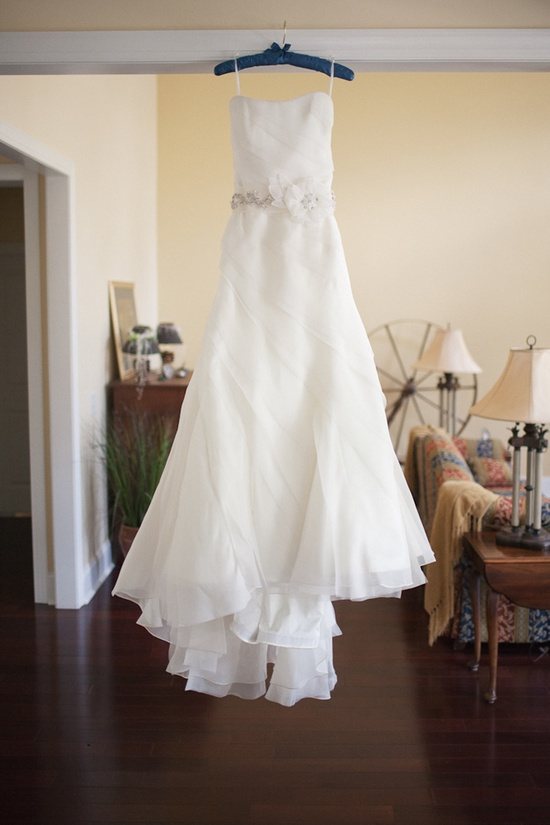 Romantic white strapless wedding dress