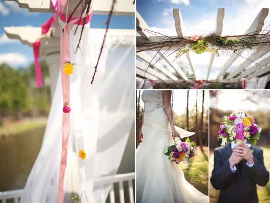 Romantic outdoor wedding ceremony decor and colorful wedding flowers