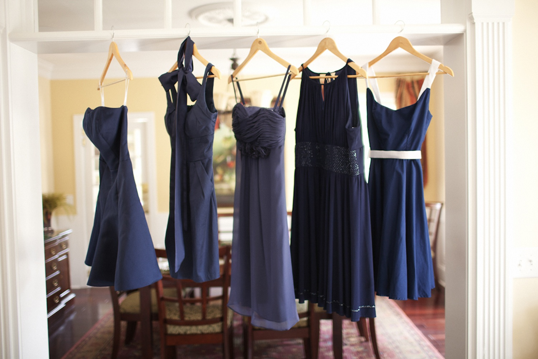 Mix and match navy blue bridesmaids dresses   OneWed.com