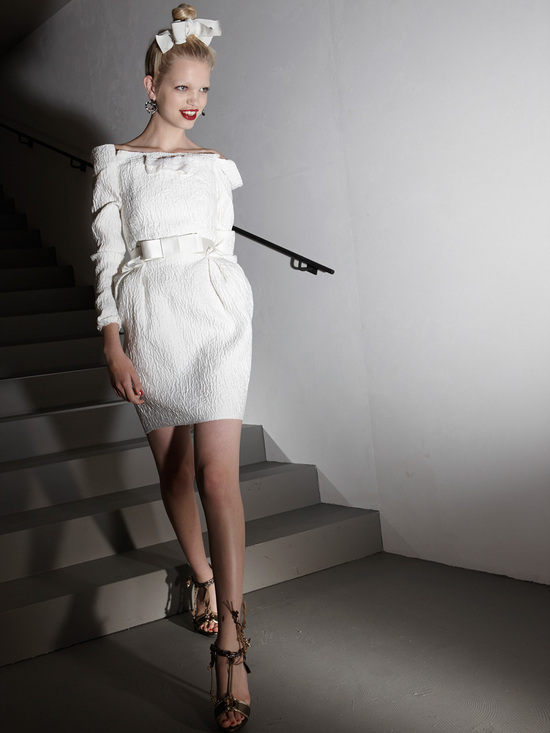 White sleeved wedding reception dress by Lanvin