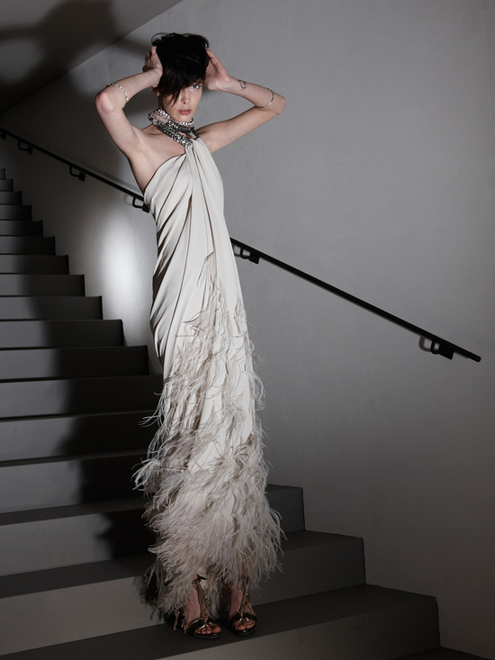 Feather-adorned Lanvin gown
