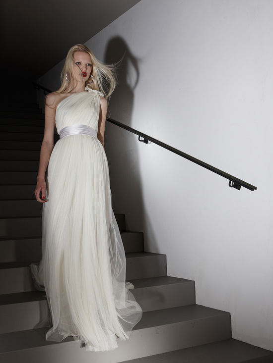 One-shoulder Lanvin wedding dress