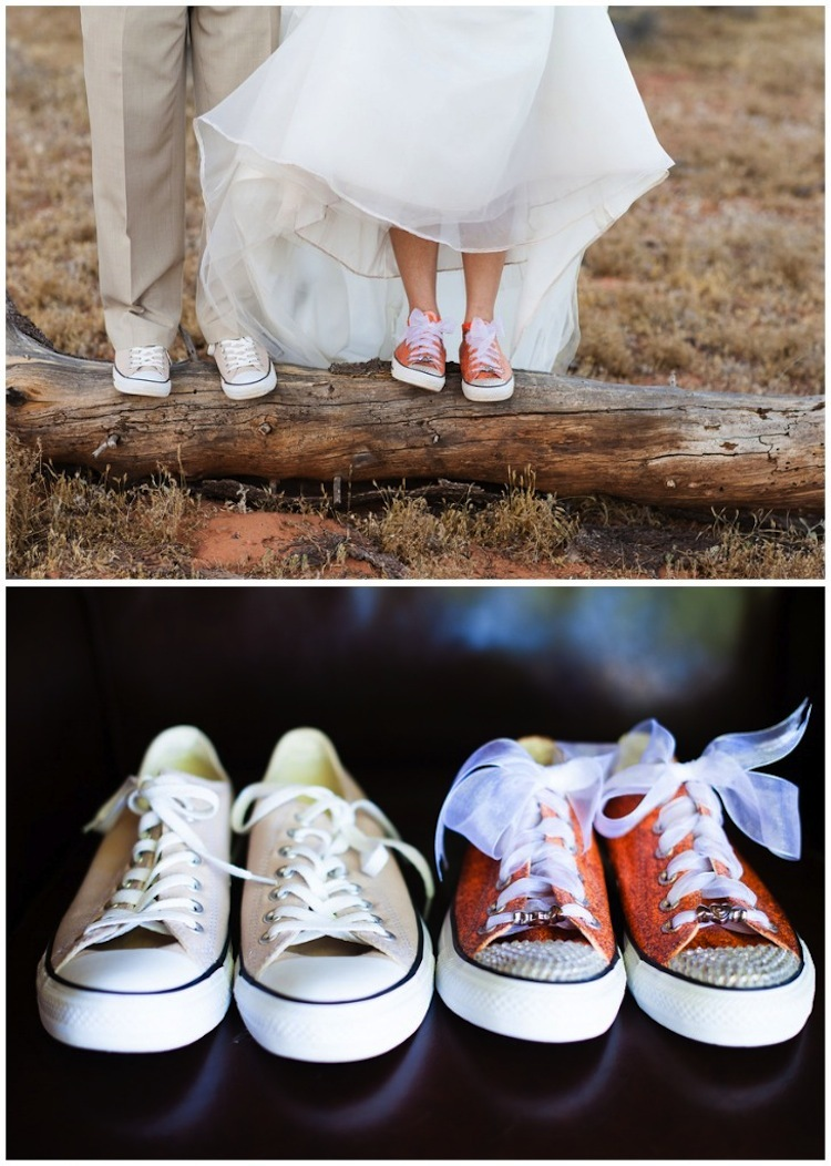 Groomsmen in Converse Shoes. Favorite. prev next. James gifted his groomsmen black and white converse shoes and, after the ceremony, the groomsmen changed into the more comfortable shoes. Classic Bride and Groom on Beach. Strapless, Bellini Bridesmaid Dresses. Ball Gown Dress with Crystal Bodice. DIY Chalkboard Ceremony Sign.