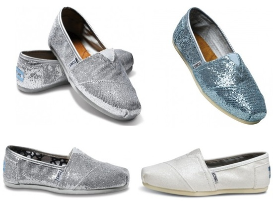 On-trend metallic TOMS wedding shoes for the casual, charitable bride