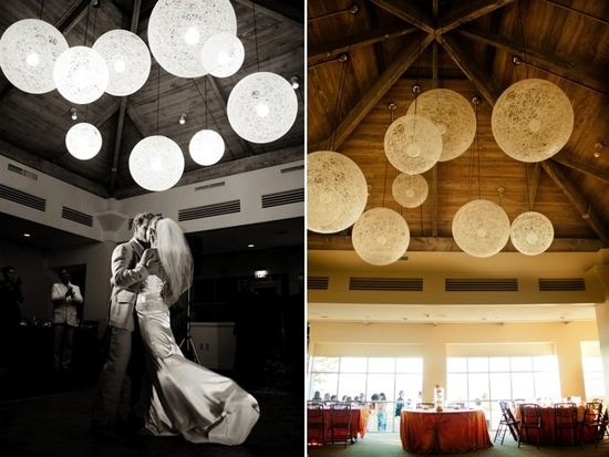 Beach bride and groom share first dance at wedding reception