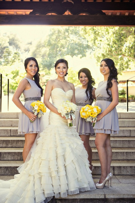 Grey bridesmaids dresses with yellow bouquets
