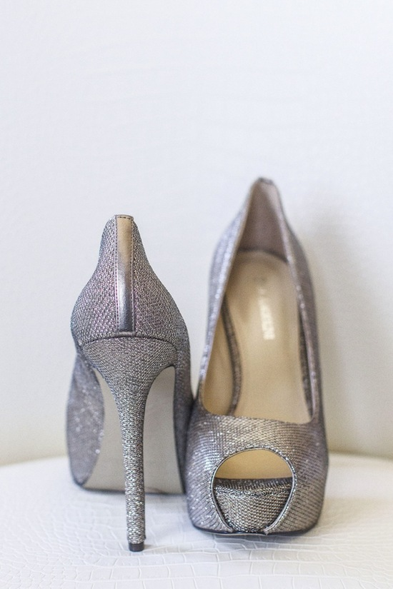photo of Silver glitter bridal shoes