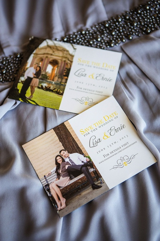 Yellow and gray save the dates