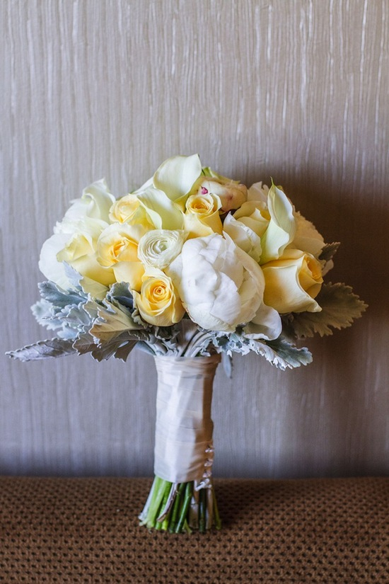 Yellow rose and lamb ear bridal bouquet
