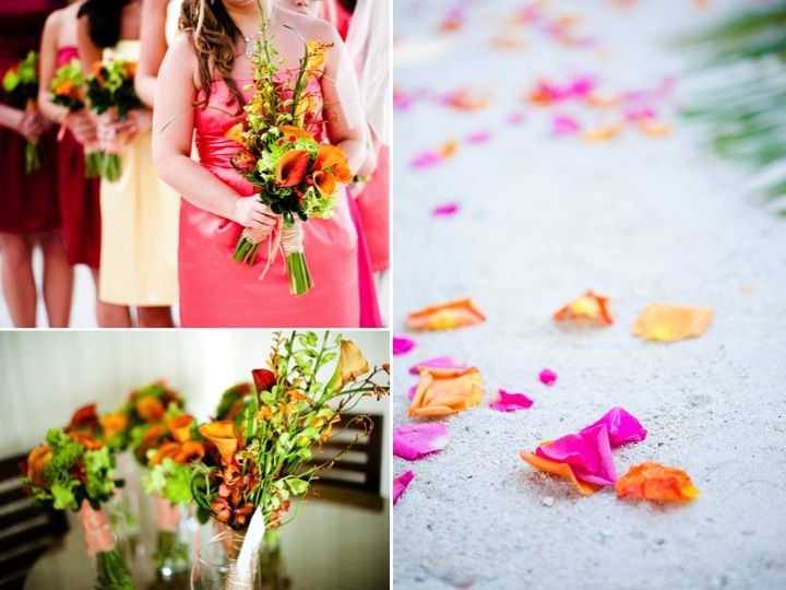 Tropical-wedding-flowers-real-wedding-photography-mix-and-match-bridesmaid-dresses.full