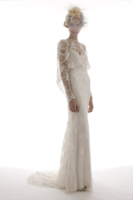 ROmantic vintage-inspired lace wedding dress with sheer lace sleeves