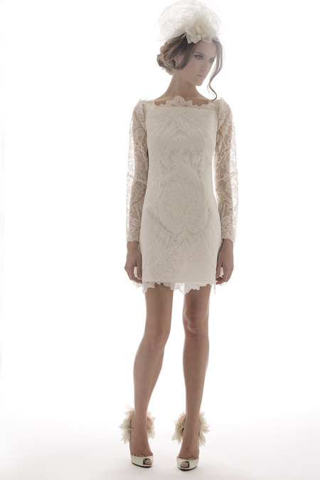 Elizabeth Fillmore short lace sheath wedding reception dress