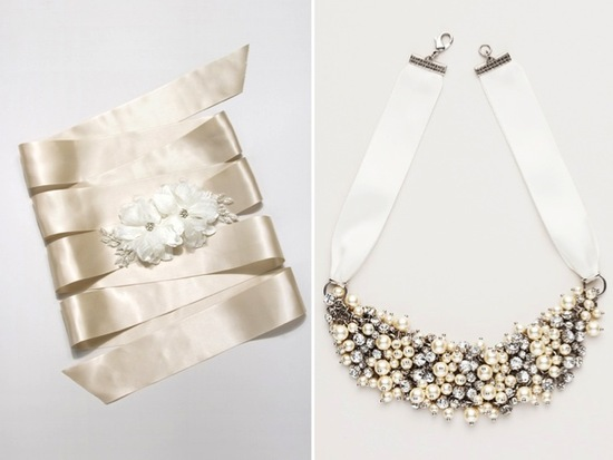 Ivory satin bridal sash adorned with romantic floral applique and a statement bridal necklace