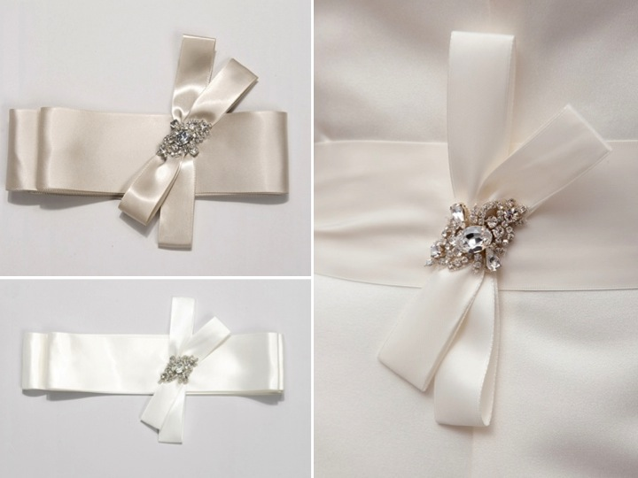 Romantic satin ribbon bridal sashes with rhinestone for Wedding dress accessories belt