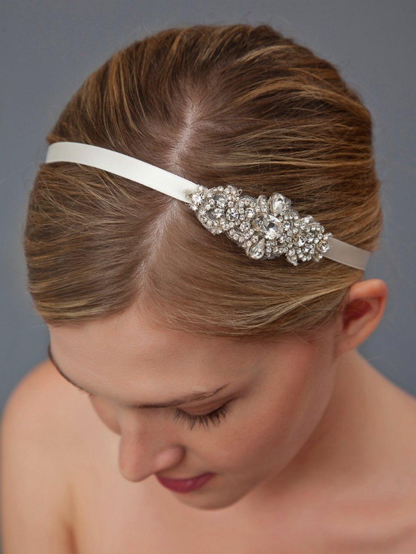 chic bridal headband with crystal brooch for wedding updo