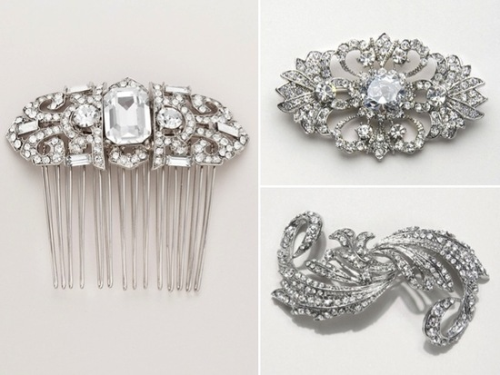Vintage-inspired bridal hair accessories and wedding barrettes